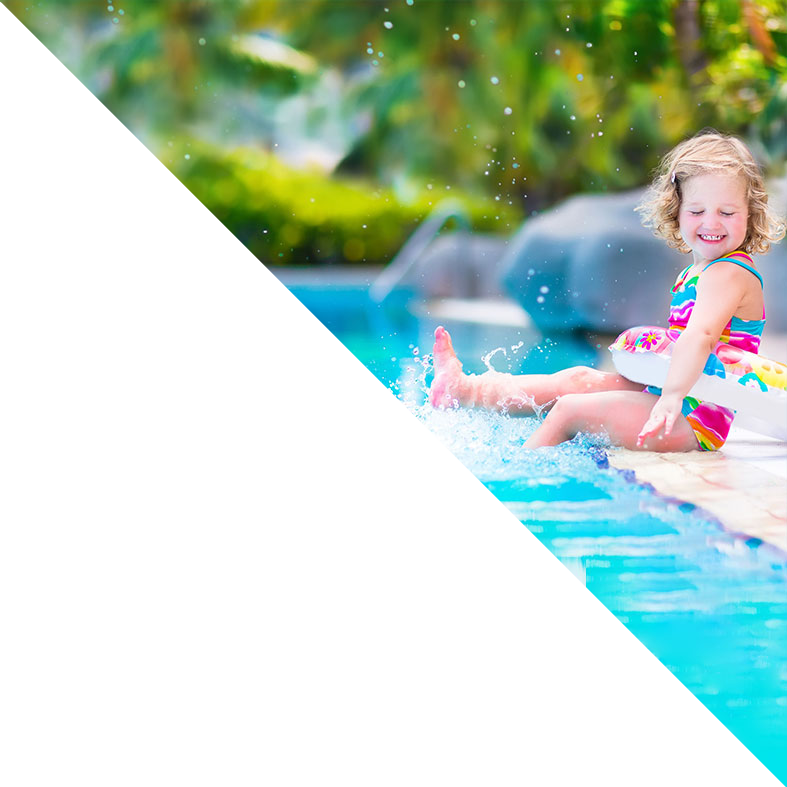 HPPS - heat pumps for swimming pools - little girl by pool